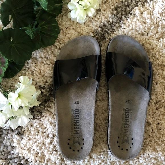 8e4bb2647651f Mephisto size 37 shiny slip on sandals women's